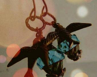 Ox Brass And Aqua Glass  Earrings