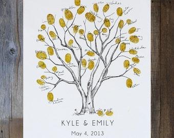 Fingerprint Tree Wedding Guest Book Alternative, Original Hand-drawn Extra Small Cottonwood Design (ink pads sold separately)
