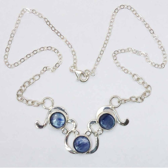 Kyanite Three Stone Necklace set in sterling silver  pkyaj2725
