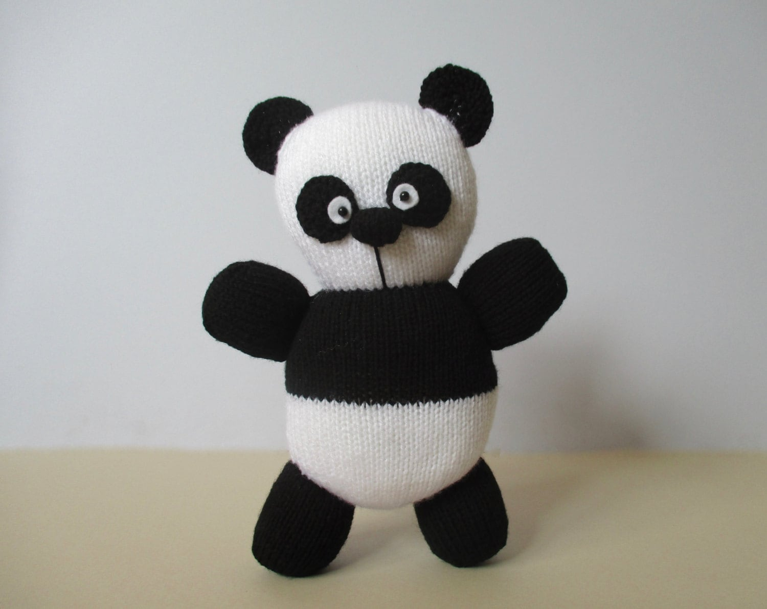 Oreo Panda toy knitting patterns by fluffandfuzz on Etsy