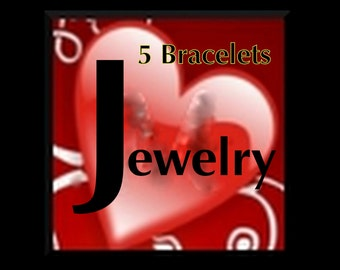 Best Deal .... 5 Handmade Bracelets ...  made w/stretchy cord or memory wire - Mystery Box surprise package .... Destash Sale price