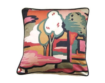 """Liberty mid 70s Munro and Tutty """"Enchanted Forest""""  dark red, dusky pink. green cotton cushion cover, throw pillow cover, homeware decor."""