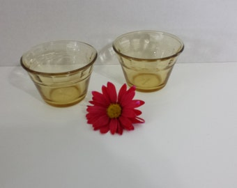 Set of 2, Amber colored Custard cups