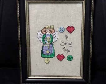 Beautiful 5 x 7 Embroidered Sewing Angel, framed