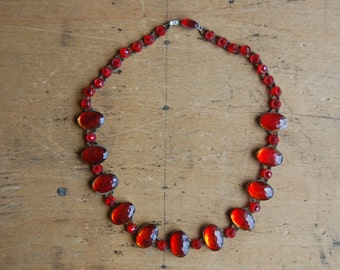 Antique Czechoslovakian glass and bead collar necklace ∙ 1910s Czech glass necklace