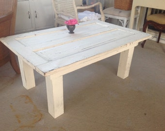 FARMHOUSE COFFEE TABLE with Chippy Door Top Coffee Table Farmhouse Prairie Cottage Style Chippy table at Retro Daisy Girl