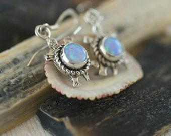 Vintage Sterling Silver Opal Small Turtle Dangle Pierced Earrings  .....5146