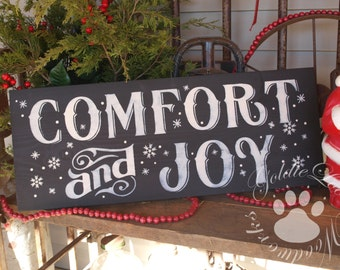 Comfort And Joy, Chalkboard Art, Primitive Wood Wall Sign, Subway Art,Typography,