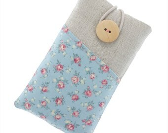 Floral fabric iPhone 6 case, iPhone 6s case with pockets, iPhone 6 Plus case, iPhone 5 case, iPhone 7 pouch, iPod Classic case, small roses