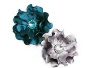 Satin Flower Hair Clip- Silver Gray or Ocean Blue Hair Clip- Gray Headpiece- Bridesmaids Hair Clip-  Special Occasion Accessory