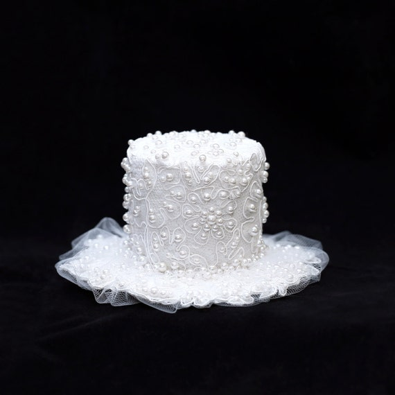 White Pearl Top Hat in Lace and Tulle Tea Party Wedding Girls Photography Prop Accessory