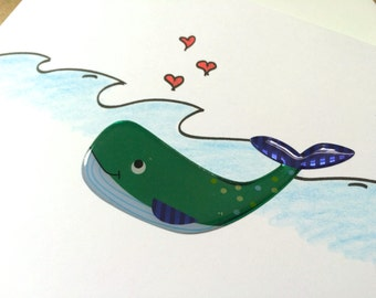 Whale Valentines Day Card, Whale you be mine, hand drawn, Whale Pun Card, made on recycled paper comes with envelope and seal