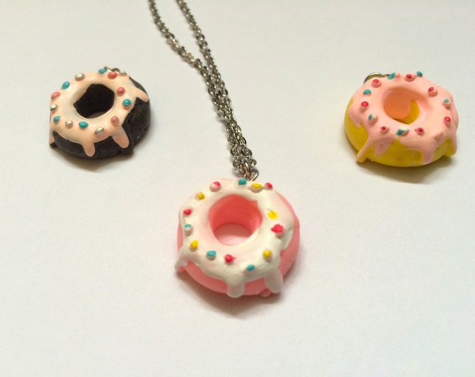 Donut Necklace, You choose color Pink, Chocolate, Vanilla, 22 inches long, stainless steel, won't taint for sensitive skin, hypoallergenic