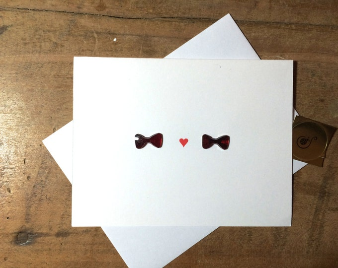 Gay Valentines Day Card, with two bow ties, hand drawn,  made from recycled paper comes with envelope and seal