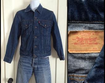 Vintage Levi's Denim Blue Jean Jacket 4 Pocket Size 36 Small Dark Wash made in USA