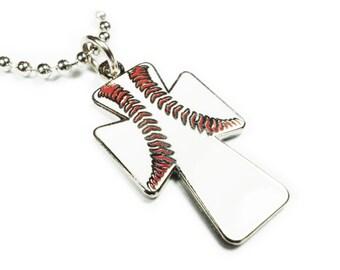 Baseball Christian Cross Crucifix Fanatic Catholic MLB Jewelry Charm Pendant Necklace with Ball Chain