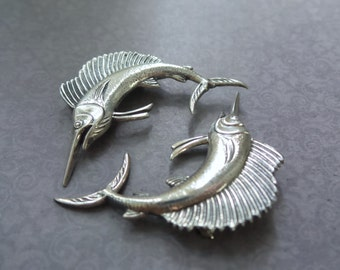 Vintage Sterling Silver Swordfish Pin, Swordfish Brooch, Swordfish Gift, Swordfish Pins, Fisherman Gift, Sea Lover Collectable, 2 Pins