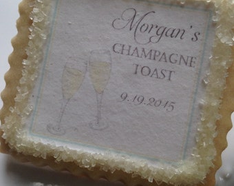 Champagne toast custom cookie favors