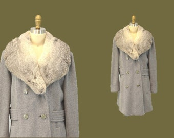GRAY wool coat Hipster winter rocker jacket fur collar vintage 1960s luxe outerwear IngridIceland princess coat double breasted classic