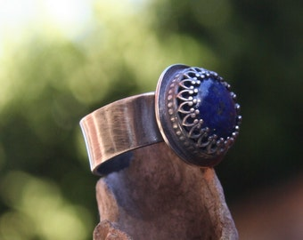 Lapis Blue Sterling Silver Oxidized Boho Southwestern Rustic Statement Wide Band Ring