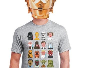 star wars t-shirt star wars gift for star wars geeks star wars fanboys nerds star wars fan of yoda t-shirts, darth vader t-shirt pixelation