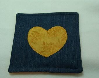 Denim coaster - golden flower heart