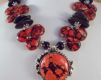 Western Cowgirl Necklace Set - Chunky Red Mosaic Magnesite - Howlite Turquoise - Black Onyx - Coral