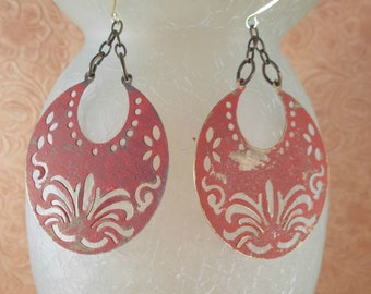 Gypsy Cowgirl Earrings - Brass Crescents with Cut Out Designs - Shabby Tomato Red Finish