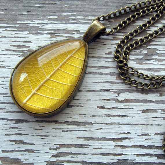 Real Pressed Leaf Necklace - Sundrop - Yellow and Antique Brass Botanical Teardrop Necklace