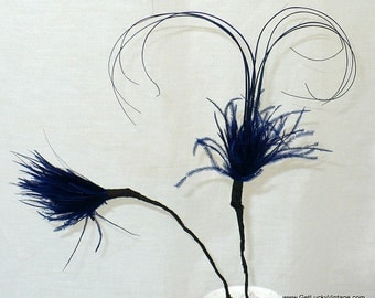 "4"" Vintage 1930's Millinery Feathers Picks, Blue Headband Herl Feathers, Millinery Supplies"