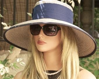 Wedding Hat, Formal Navy Hat. Navy Blue & Gray Taupe Hat, Audrey Hepburn Hat, Derby Hat, Ascot Hat Wide brim hat, occasion hat event hat