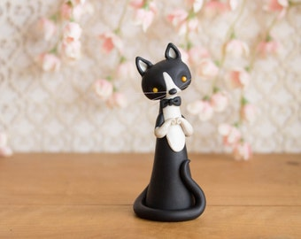 Tuxedo Cat - Black and White Cat Figurine by Bonjour Poupette