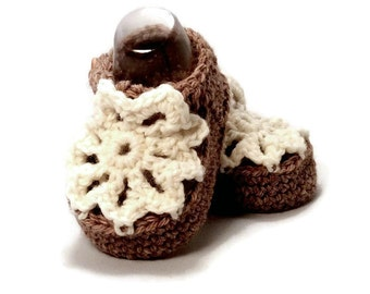 Girl Baby Shoes Knitted Baby Sandals Crochet Baby Slippers Lace Crib Shoes Brown Merino Wool Baby Shower Gift by Warm and Woolly on Etsy