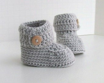 cashmere merino wool button cuff baby booties hand knit knitted neutral ugg style dove gray light wood buttons pregnany announcment box