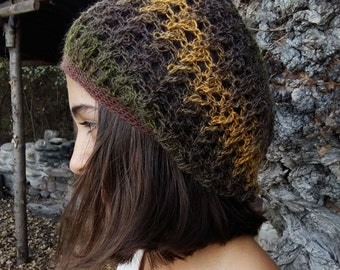 Elegant Crochet Beanie, Womens Knit Beret, Crochet Beret Hat, Brown Knit Beret, Woodland, Boho, Golden Forest