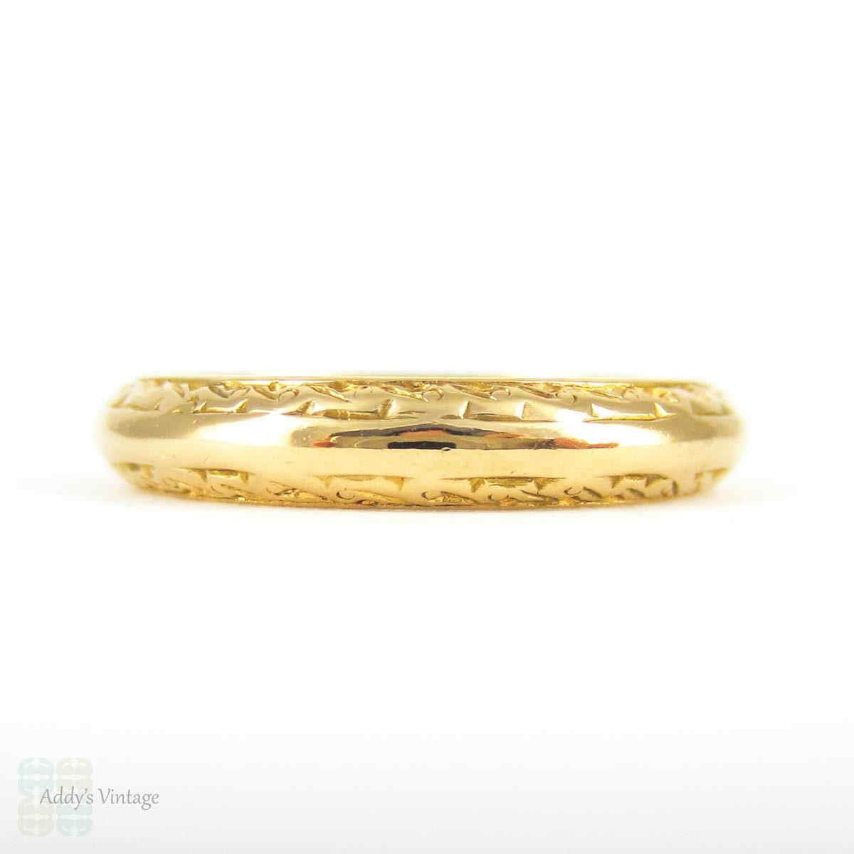 22 carat gold engraved wedding ring d profile by addy