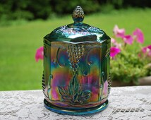 Vintage Iridescent Blue Carnival Glass Covered Candy Dish by Indiana Glass, Perfect Condition.