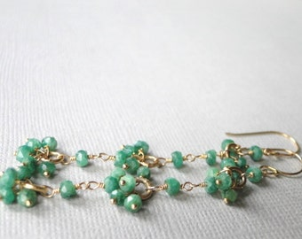 Jewelry Emerald Earrings Statement Earrings, Emerald Gemstone Dangle Earrings, Emeralds, Green, 14kt Gold Filled Earrings and Emeralds