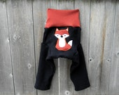 Upcycled Wool Longies Soaker Cover Diaper Cover With Added Doubler Black/Orange  With Fox Applique MEDIUM 6-12M Kidsgogreen