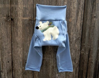 Upcycled Merino Wool  Longies Soaker Cover Diaper Cover With Added Doubler Blue With Polar Bear Applique MEDIUM 6-12M Kidsgogreen