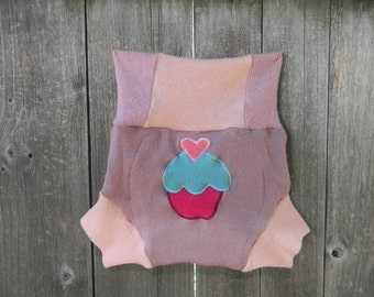 Upcycled Wool  Soaker Cover Diaper Cover With Added Doubler Pink  With Cupcake Applique LARGE 12-24M Kidsgogreen