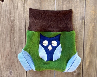 Upcycled  Wool Soaker Cover Diaper Cover With Added Doubler Green/ Blue / Brown With Owl Applique LARGE 12-24M Kidsgogreen