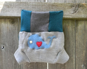 Upcycled Merino Wool Soaker Cover Diaper Cover  With Added Doubler Gray/ Teal  With Whale Applique SMALL 3-6M Kidsgogreen
