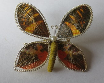 HANDMADE BAVARIAN BUTTERFLY Brooch - German - Filigree