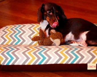Dog Bed, Dachshund Dog Bed, Dog Burrow Bed, Bun Bed, - The Ominous Cloud - Chevron Zig Zag Pattern in Blue Gray & Green