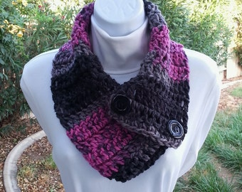 NECK WARMER SCARF Black Gray Grey Raspberry Pink, Black Buttons, Soft Acrylic Crochet Knit Buttoned Cowl Scarflette..Ready to Ship in 2 Days