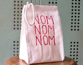 Lunch Box - Lunch Bag - Lunch Tote - Reusable Lunch Bag - Screen Printed Lunch Bag - Canvas Tote Bag - Lunch Sack - NOM NOM NOM