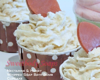 Nectarine and Honey Fall Whipped Soap Bath Bomb Cupcake Fizzy, Fall Gift