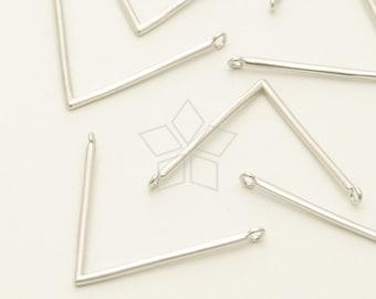 PD-1101-MS / 2 Pcs - V shape, L shape Pendant Charms, Matte Silver Plated over Brass / 25mm x 19mm