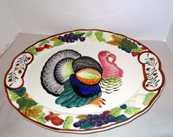 Extra Large Oval Serving Platter with Turkey Home and Garden Kitchen and Dining Tableware Serveware Serving Platters